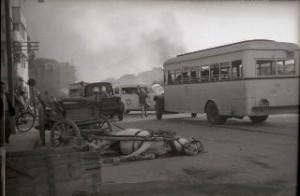 Street after Egyptian bombing 1948/Photo: Beno Rothenberg