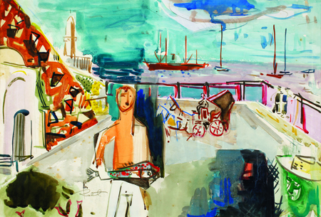 The Fisherman, watercolors on paper, late 1950s