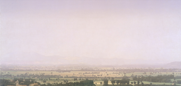 Aria Umbra I, 2003–2004, Oil on linen, 119x250 cm. Gift of Nahum and Sheila Gelber, Jerusalem, to Canadian Friends of the Israel Museum, on extended loan from CFIM