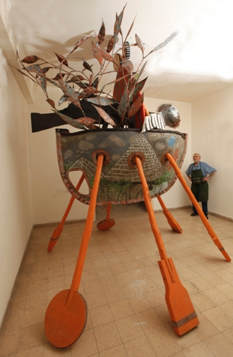 Boat, 2012, painted wood, photo taken in the artist's Jaffa studio (all photo credits: Abraham Hay)