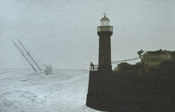 Liat Livni, Lighthouse Stories 1, 2010, 40 layers of paper, pencil on paper, led lighting