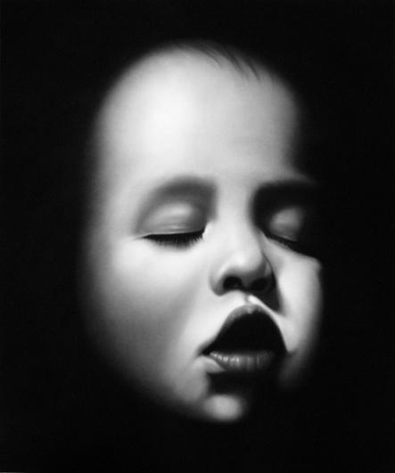 Robert Longo, Untitled (Damien), 2007, charcoal on paper
