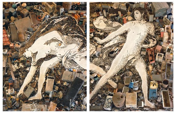 Atlanta & Hippomenes after Guido Reni (Pictures of Junk), 2006, photograph