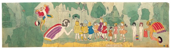 Henry Darger, At Jennie Richee, Escape by their Help, mid-20th century Watercolor, pencil, carbon tracing, and collage on pieced paper (two-sided), Collection American Folk Art Museum, New York, photo by James Prinz
