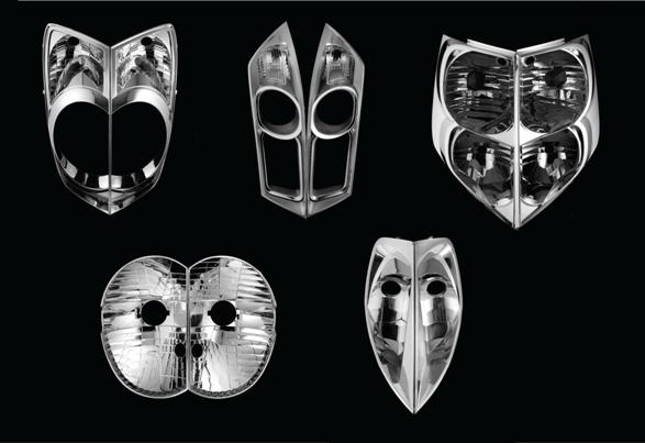 Dov Ganchrow and Ami Drach(zl), Parkenlicht masks, 2008, car headlight reflectors