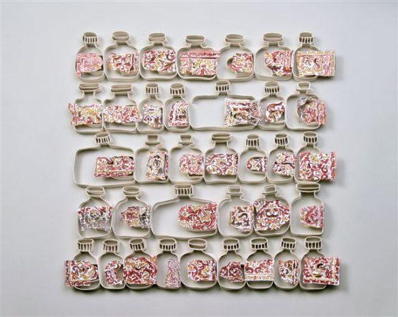 Cohavit  Ben Ezra Goldenberg, Canned, porcelain, pigments. Hand built, painting, electric firing