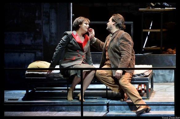 La Bohème - Mimi (Ira Bertman) and Rodolfo (Jose Bros) in their final tender moments/Photo: Yossi Zwecker