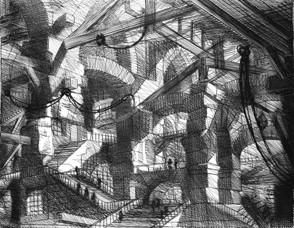 Carcere XIV, The Gothic Arch, after Piranesi, 2002, from the series Carceri (Prisons), chromogenic print, Courtesy of Xippas Galleries
