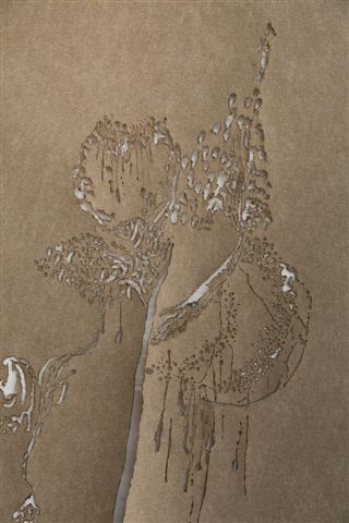 Sagit Mezamer, Chasing the Dragon, Living apart, #2 (detail), mixed media on felt carpet, 200x 90