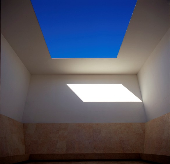 Space that Sees, 1992, gray and white concrete, limestone, florescent light with dimmer, 700x1000 x 1000cm, The Israel Museum, Jerusalem, Gift of Hannelore and Rudolph B. Schulhof, New York, to  American Friends of the Israel Museum.