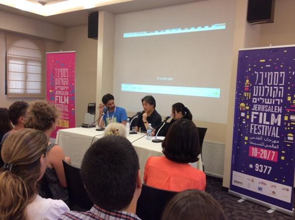 Park Chan-Wook at the Jerusalem Film Festival with Pablo Utin and translator/Photo: Ayelet Dekel