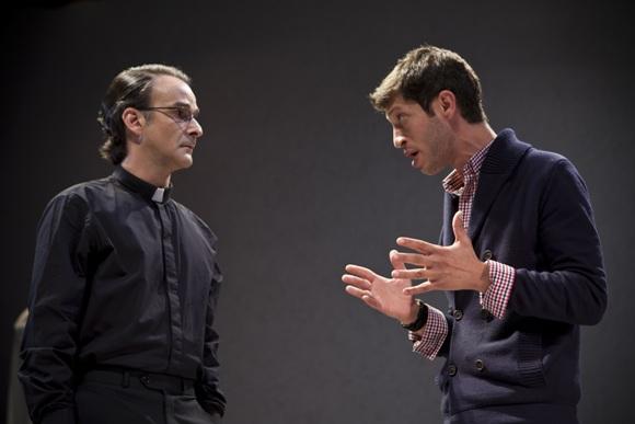 Pastor Manders (Amir Krief) and Oswald (Tom Hagi) in Ghosts/Photo: Maayan Kaufaman