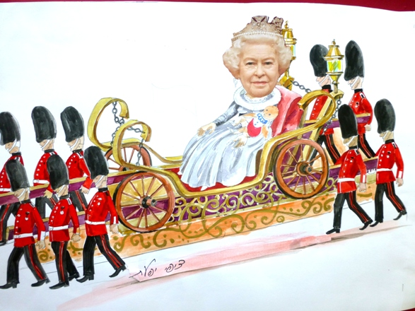 Sketch for Queen Elizabeth Float/Parade designer: Zipi Ifat