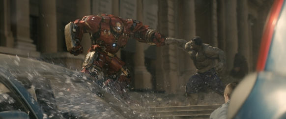 L to R: Iron Man's Hulkbuster suit (Robert Downey Jr.) vs. Hulk (Mark Ruffalo)/Photo: Film Frame©Marvel 2015
