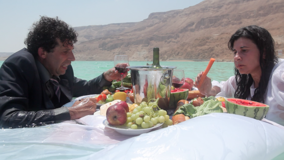 Shahar Marcus and Nezaket Ekici, Salt Dinner, 2012, video, 3:14 mins., courtesy of the artist and Braverman Gallery, Tel Aviv