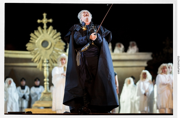 Scott Hendricks as Scarpia - general rehearsal for Tosca at Masada/Photo: Muperphoto