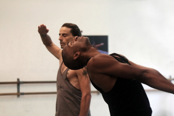 Desmond Richardson and Ido Tadmor in rehearsal/Photo: Adi Alon