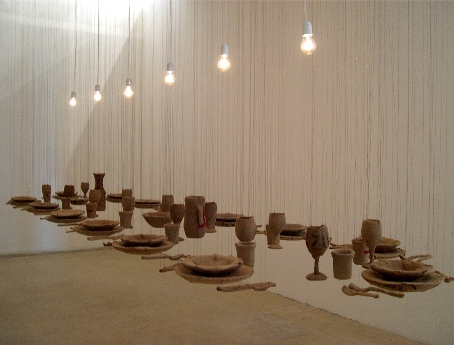 Dvora Morag, A Set Table, 2005, Installation: pottery, jute, sewing thread, metal thread, collection of the artist, Tel Aviv